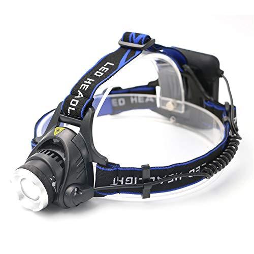 YSQSPWS Linterna Frontal Led LED Zoomable Focus Faro Faro Faro 3 Modos XM-L T6 3800LM Cabeza Torch Flashlight Pesca Caza Lámpara Uso 4 * AA batería