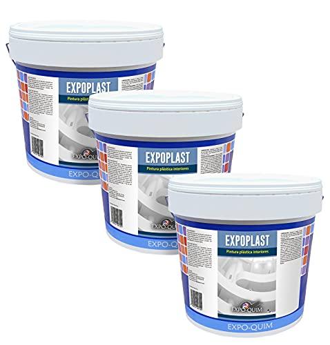 EXPOQUIM Expoplast - Pintura plástica blanca LAVABLE - especial para INTERIOR - 15Kg (3X5 KG)