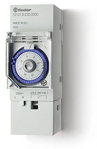 Finder Interruttore orario 120182300000 - 24h meccanico con invertitore 16A - Tensione di alimentazione 230 V 50/60 Hz