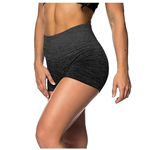 FONMA Tie-dye Print Womens Shorts Elastic High Waist Leggings Tight Sports Yoga Pants Black