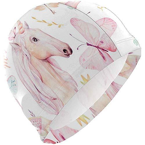 Simpatico Unicorno Acquerello Con Fiore Elastomerico Spandex Solido Cuffia da bagno Cuffie da bagno Cappelli da nuoto - Mantiene i capelli puliti Orecchio asciutto