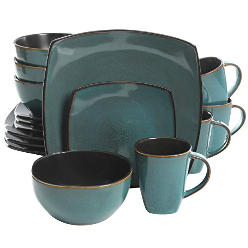 Gibson Elite Soho Lounge 16 Piece Dinnerware Set, Teal