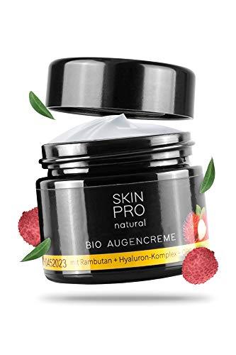 SKIN PRO natural® Bio Augencreme mit Hyaluron-Säure und Aloe Vera, hoch effektive Anti Aging Feuchtigkeits-Creme zur täglichen Gesichtspflege, Augen-creme Vegan 50ml - Made in Germany