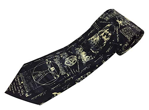 Leonardo da Vinci dessins sur bleu marine Polyester Cravate (Ts-784)