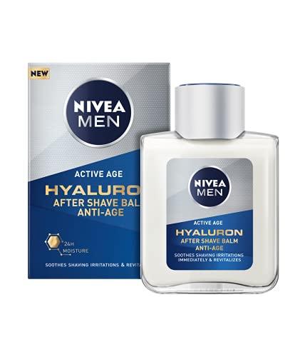 NIVEA MEN Hyaluron Bálsamo After Shave Antiedad con Ácido Hialurónico (1 x 100 ml), bálsamo hidratante para calmar la piel tras el afeitado, bálsamo facial refrescante