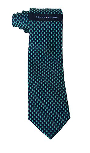 Tommy Hilfiger Men's 100% Silk Necktie, Christmas Pine tree Print, Navy Color