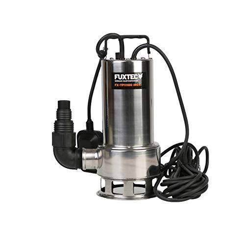 FUXTEC Wasserpumpe FX-TP11100INOX Schmutzwasserpumpe Tauchpumpe 1100 Watt, max. 20000 l/h, max. 11 m Förderhöhe, Fremdkörper bis 35 mm, integrierter Schwimmerschalter