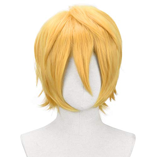 YOGFIT Men's Short Straight Yellow Gold Wig for Anime Spiky Cosplay Halloween Costume Party