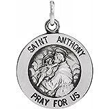Collar con colgante de plata de ley 925 de 22 mm pulido con medalla de San Antonio para mujer