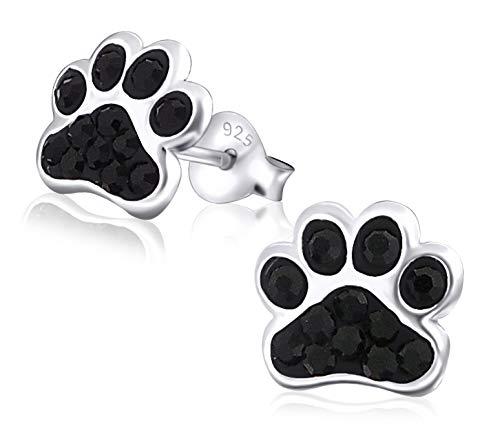 Laimons Kids Pendientes para niña Huella de perro Brillante Negro Brillante Plata de ley 925