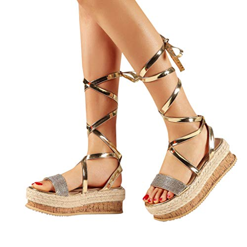 Amazing Deal Padaleks Women's Open Toe Summer Sandals Comfy Thick Flat Bottom Hollow Slingback Lace ...