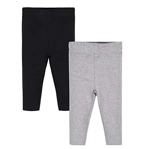 Gerber Baby Girls 2 Pack Leggings, Grey/Black, 6-9 Months