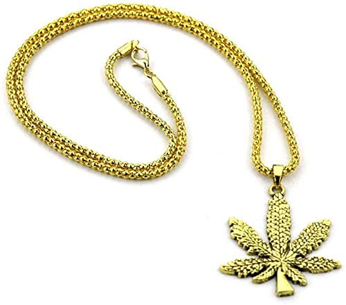 NONGYEYH co.,ltd Maple Leaf Charm Necklace Stainless Steel Gold Color Chain Pendant for Men/Women Summer Jewelry