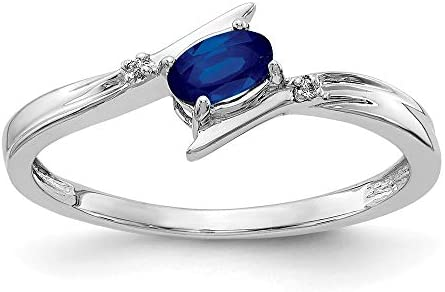 14k White Gold Oval Diamond Blue Sapphire Bypass Band Ring Size 7 00 Stone Birthstone September product image