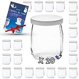 Lactivy   Lot de 20 Pots de yaourt en verre de 142 mL / 125g avec couvercles hermétiques   Fabrication & Marque Française   Compatible avec yaourtières & robots   Ebook de recettes & idées offert !