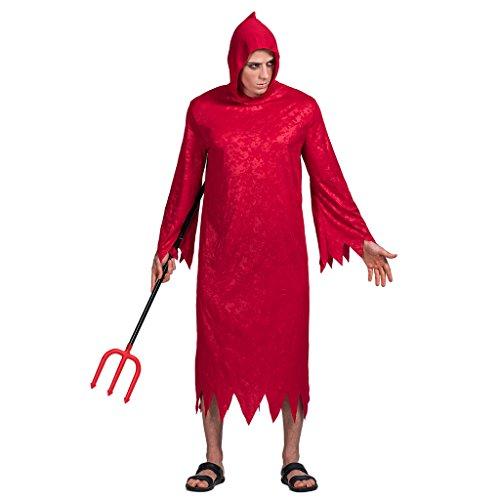 EraSpooky Disfraz de Diablo Rojo para Hombre Traje de Gala Robe Cosplay Traje de Fiesta de Halloween para Adultos