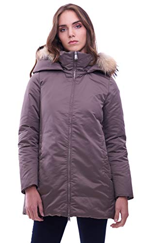 ADD Parka with Down Padding And Fur Border, Verde (Tortora 7658), Large (Taglia Produttore:46) Donna