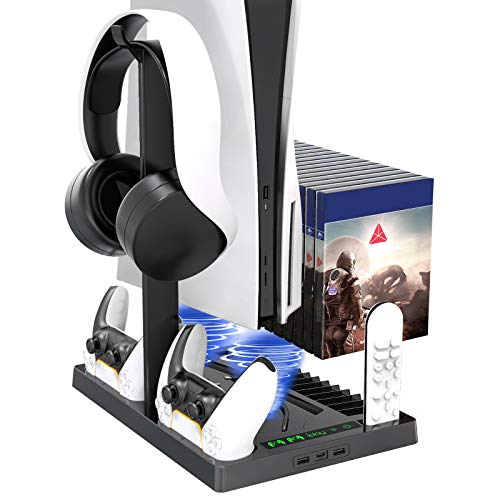 Vertical Stand with Headset Holder and Cooling Fan Base for PS5 Console & Playstation 5 Accessories, 1 Headphone Stand, 2 Controller Chargers, 15 Game Disc Slots and 1 Media Remote Organizer