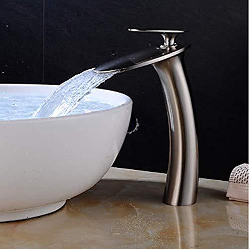 WY-YAN Válvula de cerámica baño grifo del fregadero cascada de níquel cepillado de una manija Juego Central grifo HoleBath Una Hermosa práctica