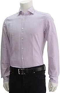 (グランシャツ) Glanshirt WEEN ストライプ柄長袖コットンシャツ ブルーグレー&ピンク系 [並行輸入品]