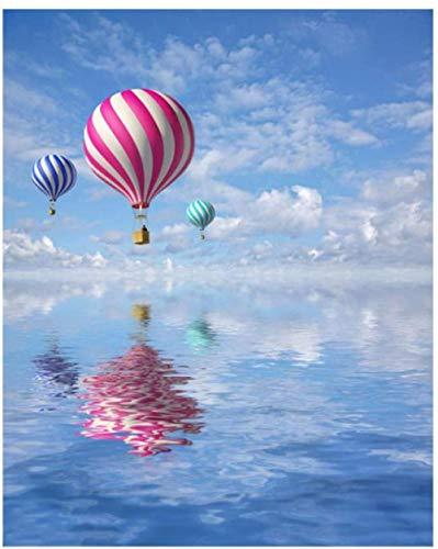 Vuelo globo aerostático paisaje diy pintura digital por números para adultos moderno arte de la pared pintura de la lona regalo único decoración del hogar 50x65 cm sin marco