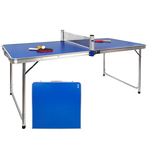 Aktive 52873- Mesa plegable ping pong, con set raquetas y pelotas, mesa plegable aluminio, para exterior, 160x80x70 cm, color azul