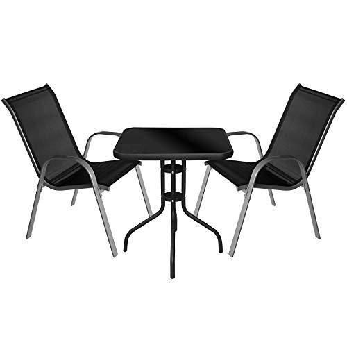 Multistore 2002 3tlg. Bistromöbel Bistrotisch 60x60cm, Schwarze Tischglasplatte + 2X Gartenstuhl, Textilenbespannung, stapelbar, Grau/Schwarz, Gartengarnitur