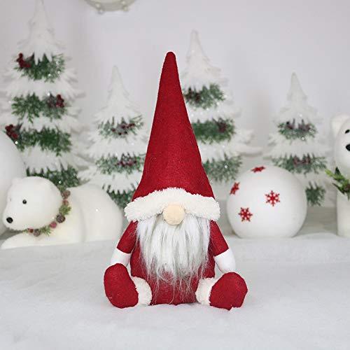 Handfly Decoración navideña Gnomo de Navidad hecho a mano Gnomo escandinavo rojo y verde Gnomo sueco Figuras de...