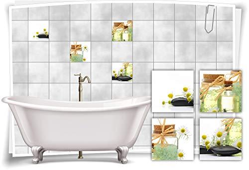 Medianlux tegelstickers, tegelafbeelding, kamille, kruiden, zout, wellness, SPA sticker, decoratieve badkamertoilet