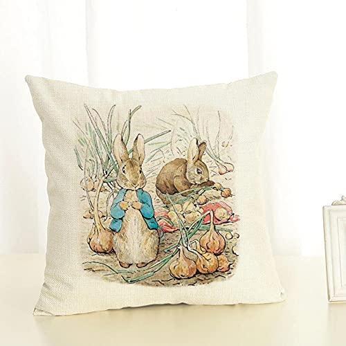 Fundas de Cojín Funda de cojín Decorativa Impresa con diseño de Conejo y Gato Bonito Funda de Almohada para sofá Funda de Almohada Cuadrada para decoración del hogar Vintage