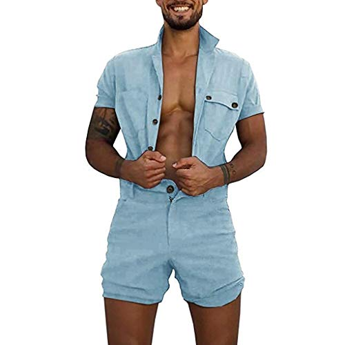 Herren Sommerjumpsuit kurz Anzug Overall Jumpsuit Pyjama-Overall für Herren zu Hause