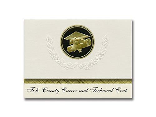 Signature Announcements Tish County Career and Technical Cent (Tishomingo, MS) Graduation Ankündigungen, Presidential Elite Pack 25 Cap & Diplom Siegel Schwarz & Gold