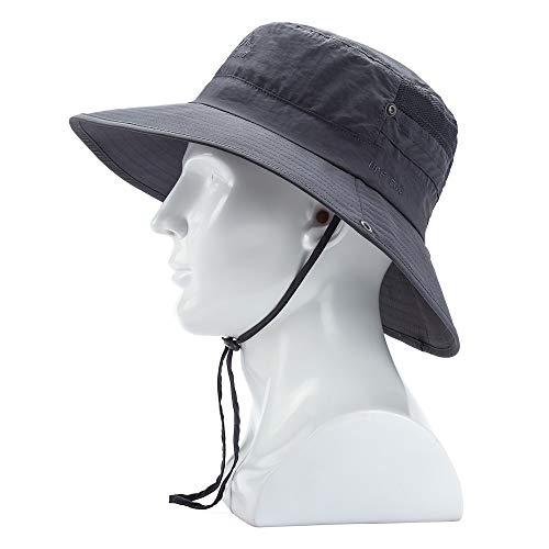 Wide Brim Sun Hat - UV Protection Fishing Hat, Waterproof Boonie Bucket Hat, Outdoor Hiking Safari Summer Hat for Men/Women Dark Grey