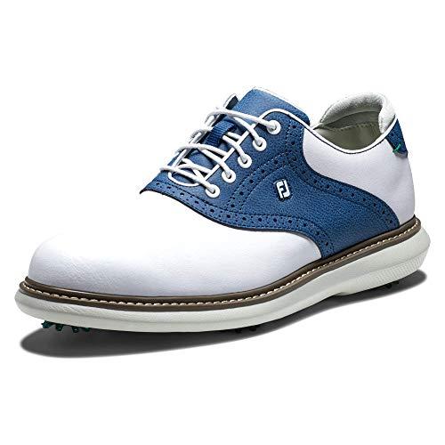 FootJoy Traditions, Zapatos de Golf Hombre, Blanco/Navy, 43 EU