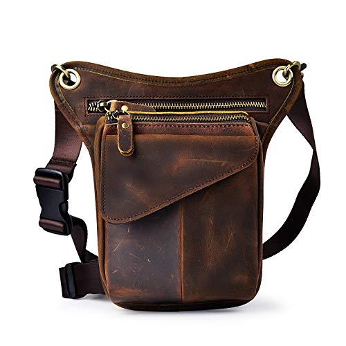 Le'aokuu hombres cuero genuino bolso Cintura Bolsa de Cuero