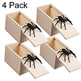Magwei Spider Prank Scare Box,4 Pieces Handcrafted Wooden Surprise Box, Practical Handmade Toy Prank for Boys, Girls, Adults