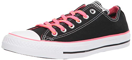 Converse Women's Chuck Taylor All Star Neon Low Top Sneaker, Black/Racer Pink/White, 10 M US