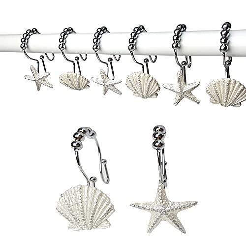 Starfish & Seashell Stainless Steel Rust Resistant Double Hooks Glide Shower Curtain Ring Hangs Holder for Bathroom Home Decor