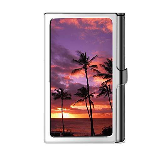 Diseño de la tarjeta de visita de la astilla, caja de crédito con nombre de monedero de acero inoxidable para hombres y mujeres-Hawaiian Sunset
