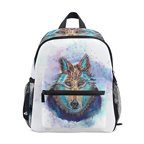 FANTAZIO Kids Rugzakken Lelijke Wolf Schilderij School tas Bookbag Daypack