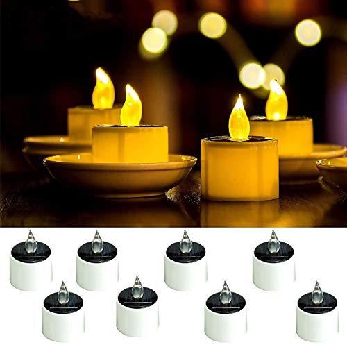ANGMLN 8 Stück Solar LED Kerzen Solar Kerzen Außen Interior Solar Teelichter Wasserdicht Flammenlose Kerzen Solarleuchte Teelichter Nachtlicht für Partei Hochzeit Festival Dekoration