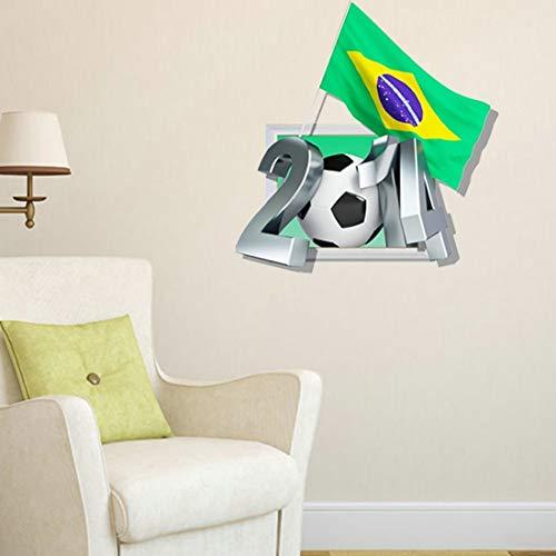 Hmg 3D Brazil Extraíble Wall Art Stickers, Tamaño: 59 x 58 x 0.3 cm