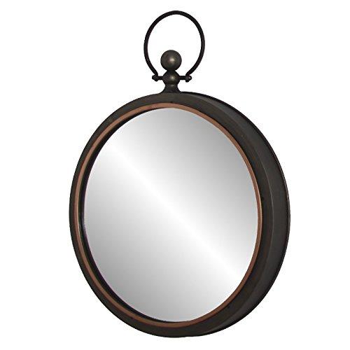 chemin_de_campagne Miroir Rond Industriel Fer Métal avec Boucle Style Ancien 45x53 cm