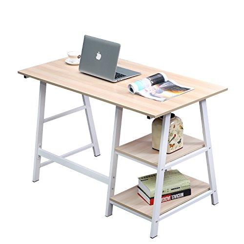 sogesfurniture Schreibtisch mit 2 Ablagen, 120x60cm Computertisch Büromöbel PC Tisch Bürotisch Arbeitstisch für Zuhause Büro, aus Holz und Stahl, Weiß Ahorn BHEU-Tplus-MO