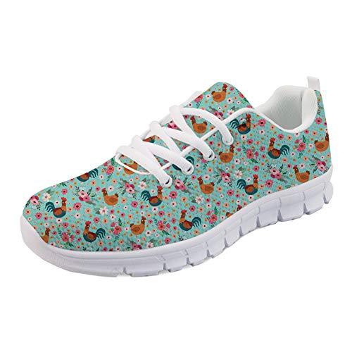 Coloranimal Lace-up Fashion Sneakers für Frauen Männer Unisex Huhn Blumenmuster rutschfeste Outdoor Wandern Jogging Wohnungen EU Größe 38