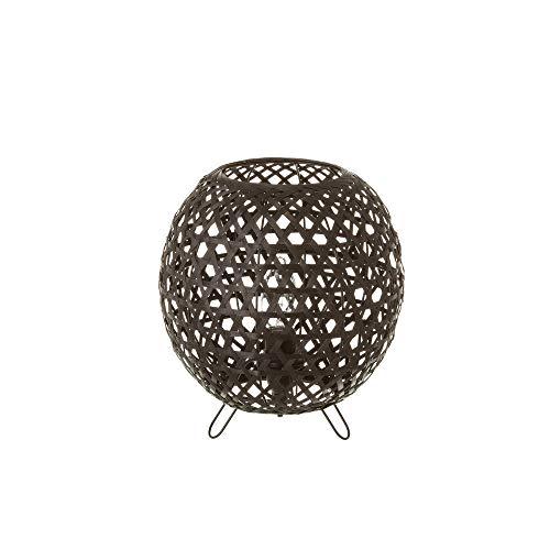 Lámpara de mesita de noche trenzada rústica de bambú negra de 23 cm - LOLAhome