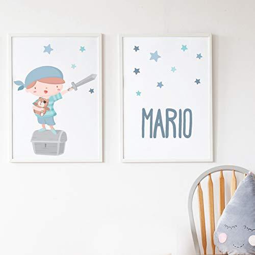 2 láminas decorativas para bebé personalizadas, 210 x 297 mm.