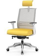 Duwinson Ergonomische bureaustoel met 4 manieren armleuningen, mesh stoel Heavy Duty bureaustoel naar voren gekanteld 9° ter bescherming van de taille, verstelbaar zitkussen, hoofdsteun en gewatteerde lendensteun.