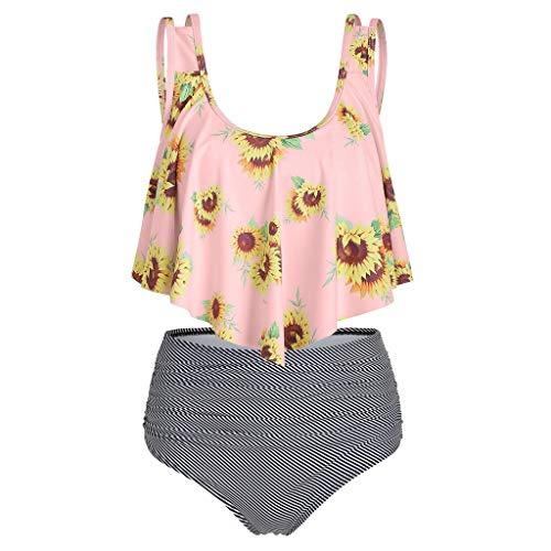 Traje de baño sexy de dos piezas para mujer, bikini de cintura alta, hombros descubiertos, volantes, talla grande, control del vientre, traje de baño retro plisado, estampado de rayas florales