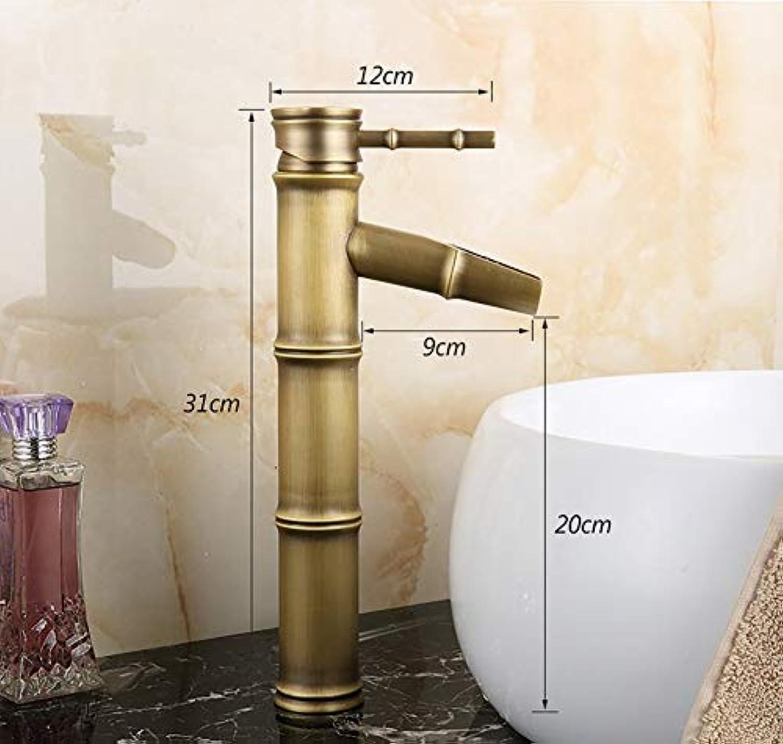 HTL Home Hotel Badezimmer, Waschbecken, Waschtischarmaturen, Wasserhahn-Antike Wasserhahn Bambus Joint Full Brass Becken Wasserhahn Retro Wasserhahn, Spültischmischer Wasserhahn